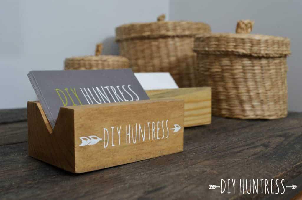 Diy wooden business card holder diy huntress diy wooden business card holder reheart Image collections