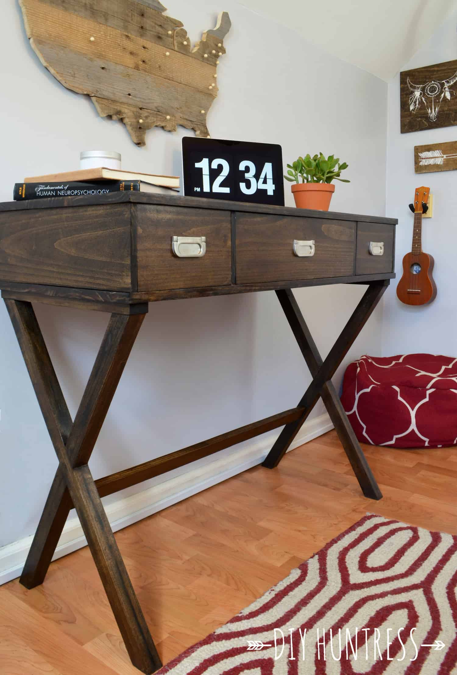 DIY X-Leg Desk With Drawers - DIY Huntress