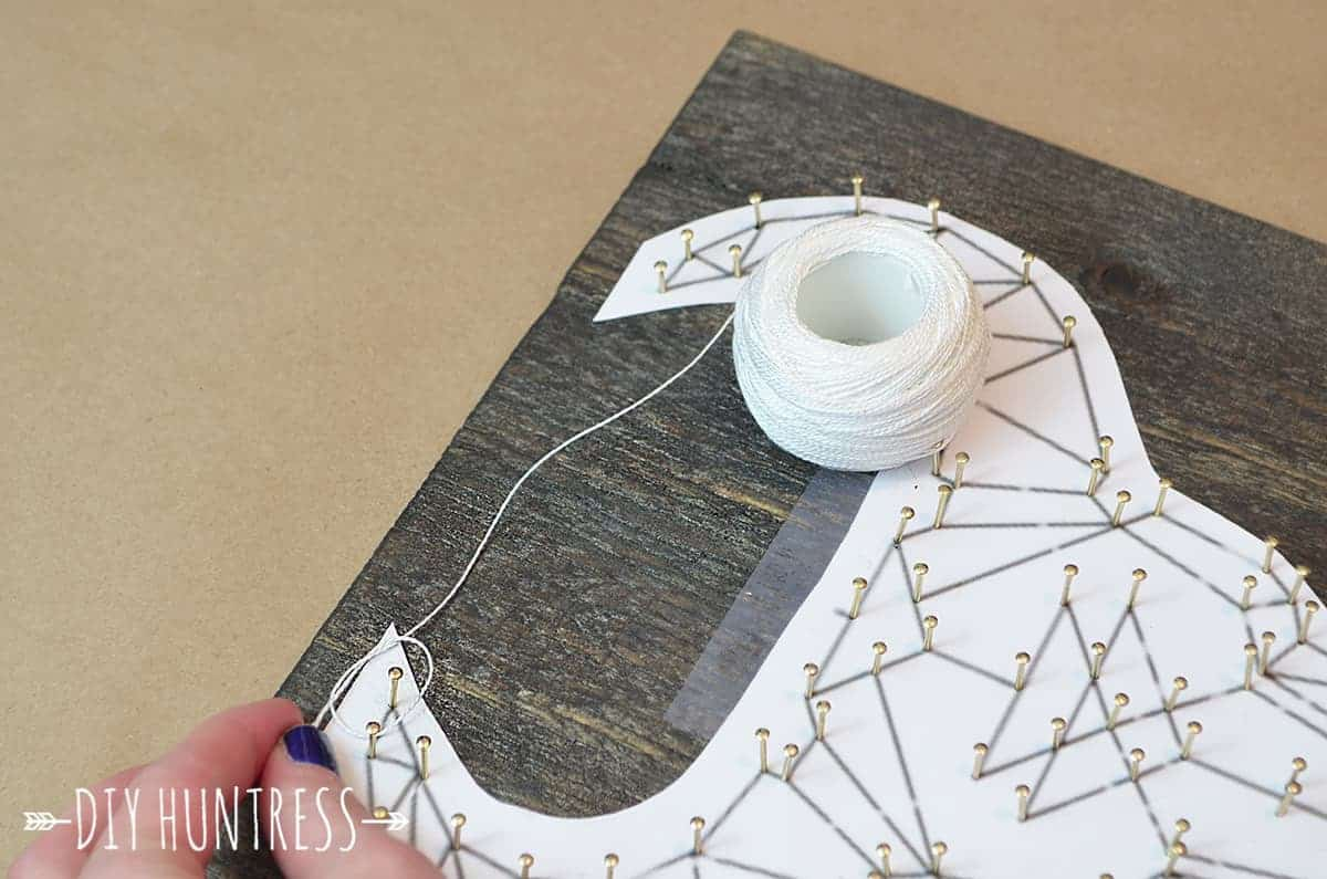 how to make artwork from wood and string