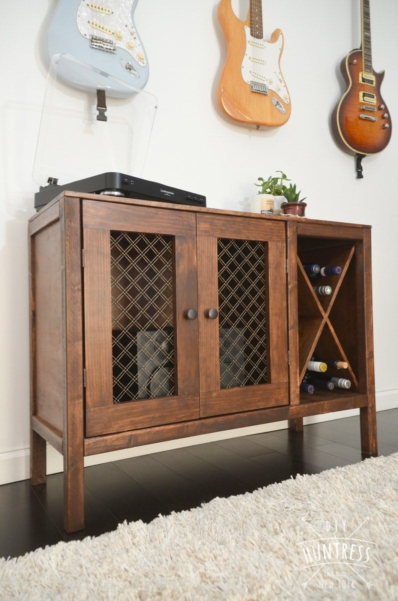 diy sideboard record cabinet with wine storage free plans. Black Bedroom Furniture Sets. Home Design Ideas