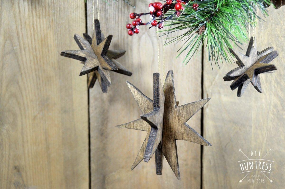 wooden star ornaments