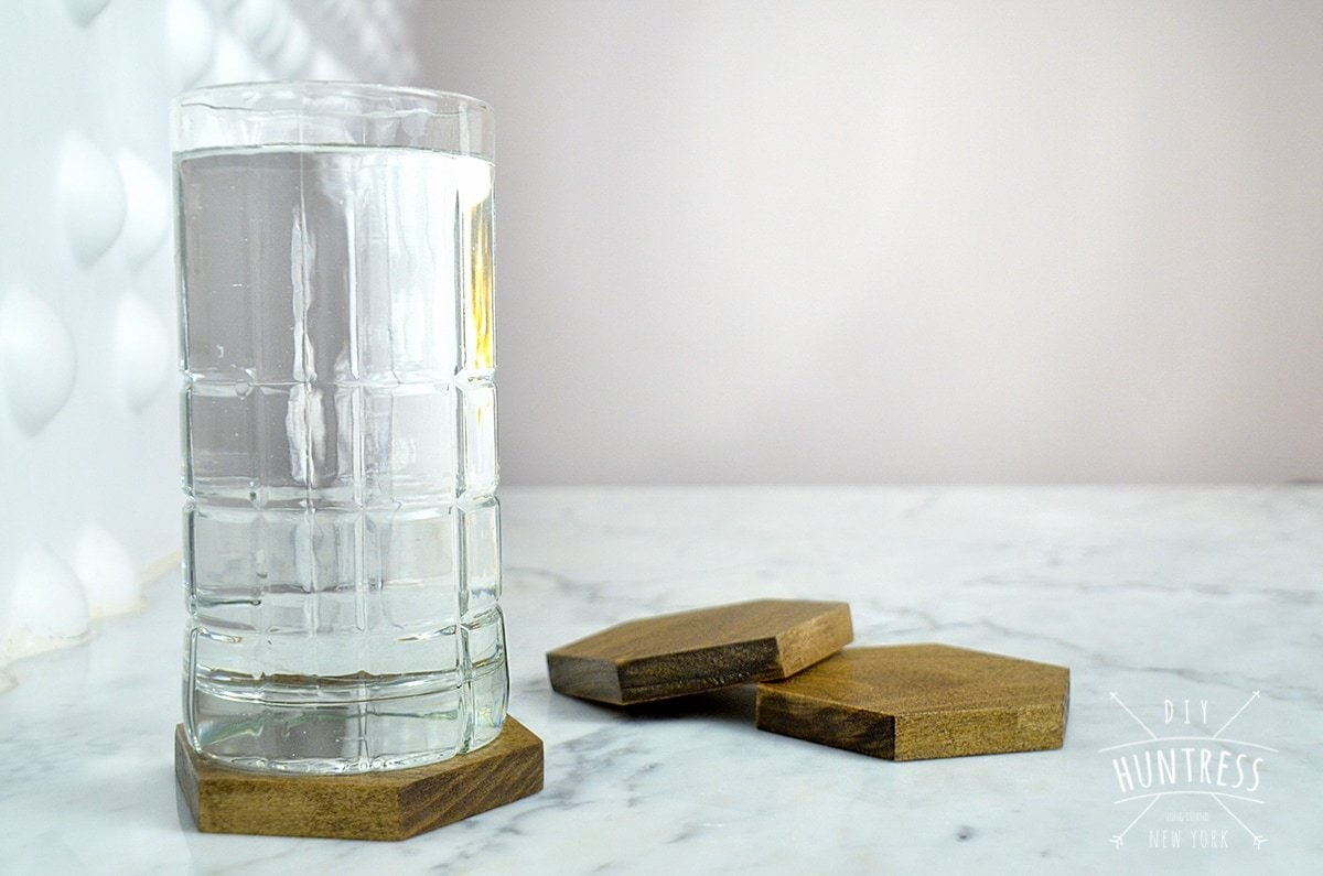 wood hexagon coasters