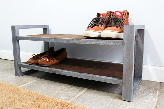 metal and wood shoe rack