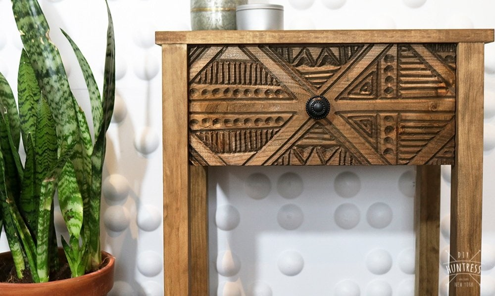 DIY Wood Carved Side Table