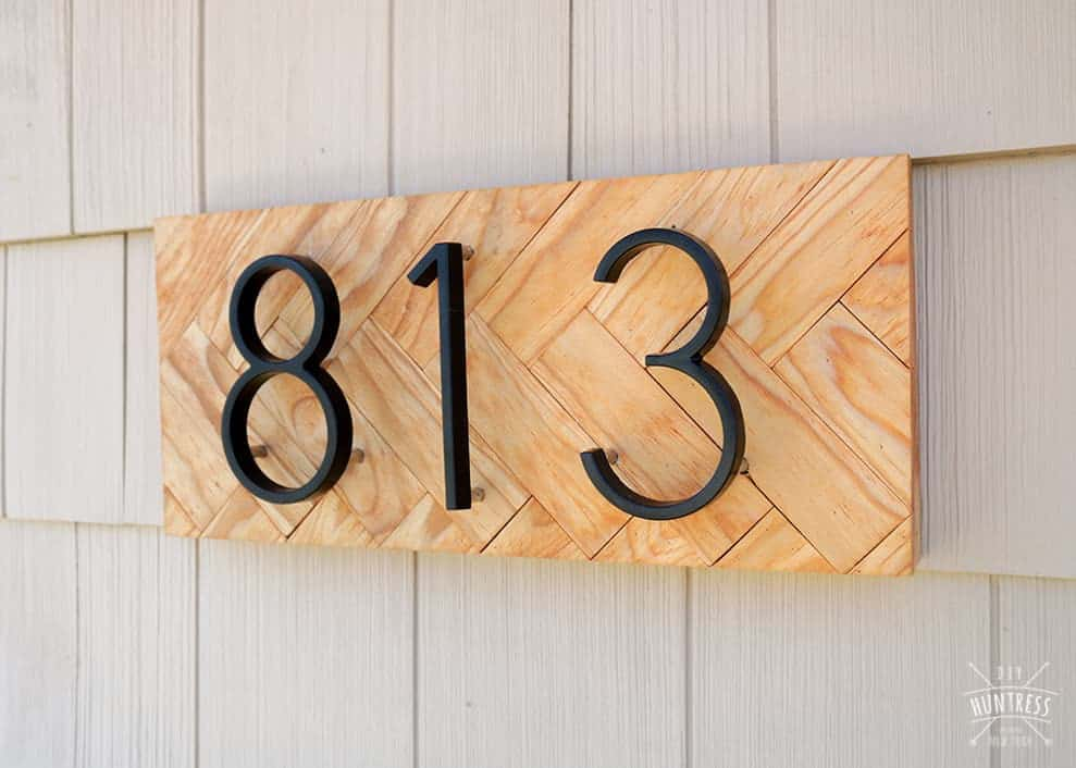 DIY Herringbone Address Sign
