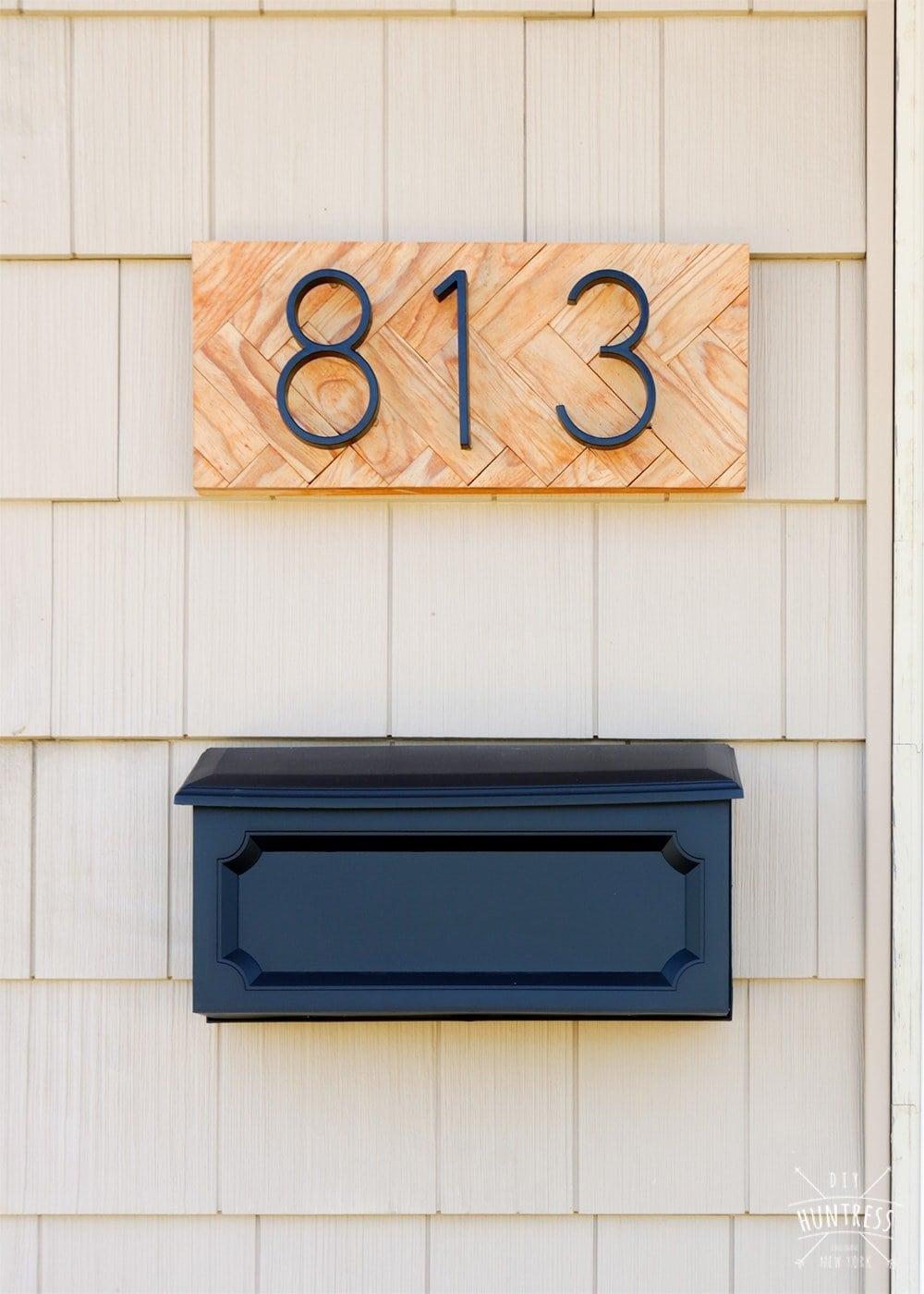 wooden address sign