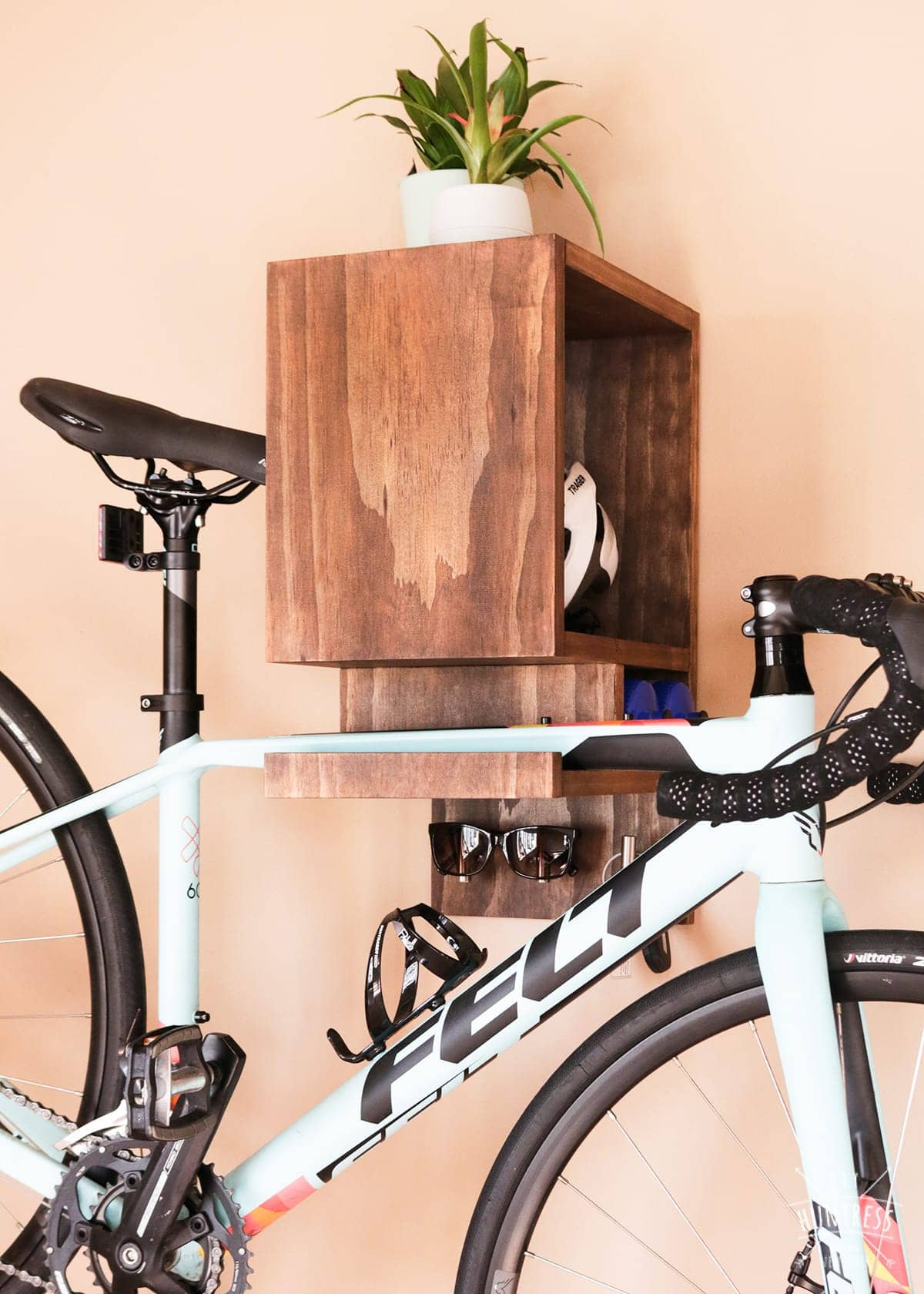 wooden bike rack with storage