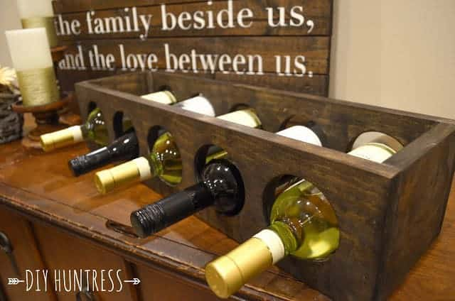This easy wooden wine rack is a lovely homemade Christmas gift for the wine connoisseur on your list