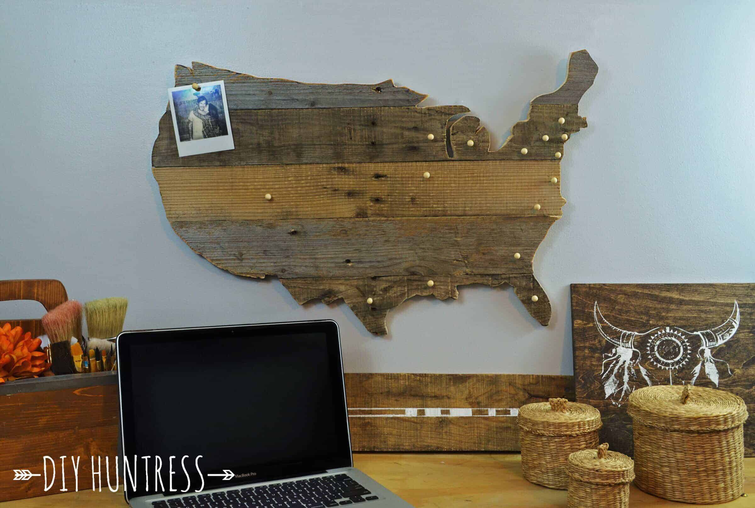 rustic wood pallet map