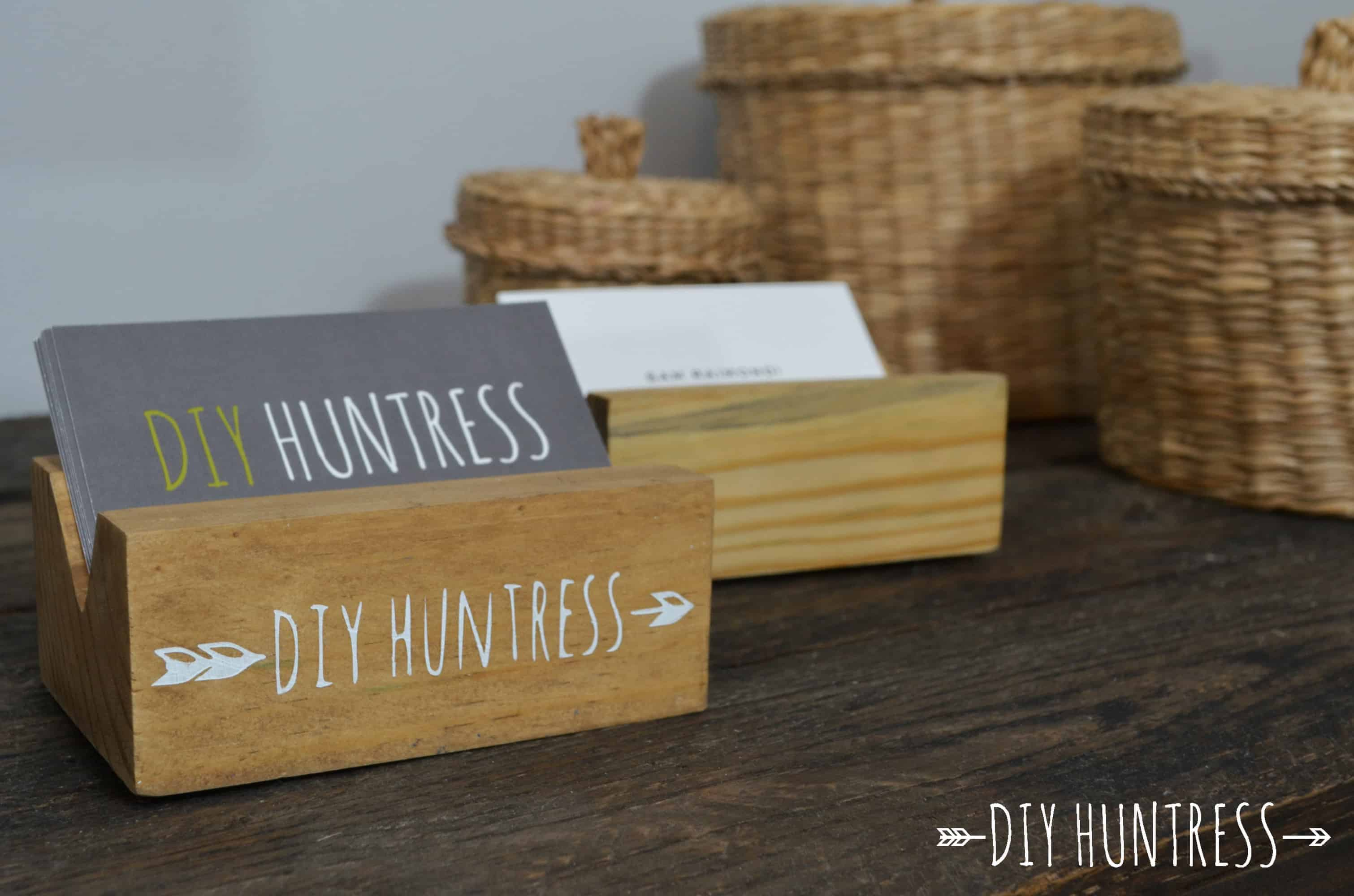 diy wooden business card holder february 10 2016 1 comment diyhuntressbusinesscardholder 13 - Diy Business Card Holder