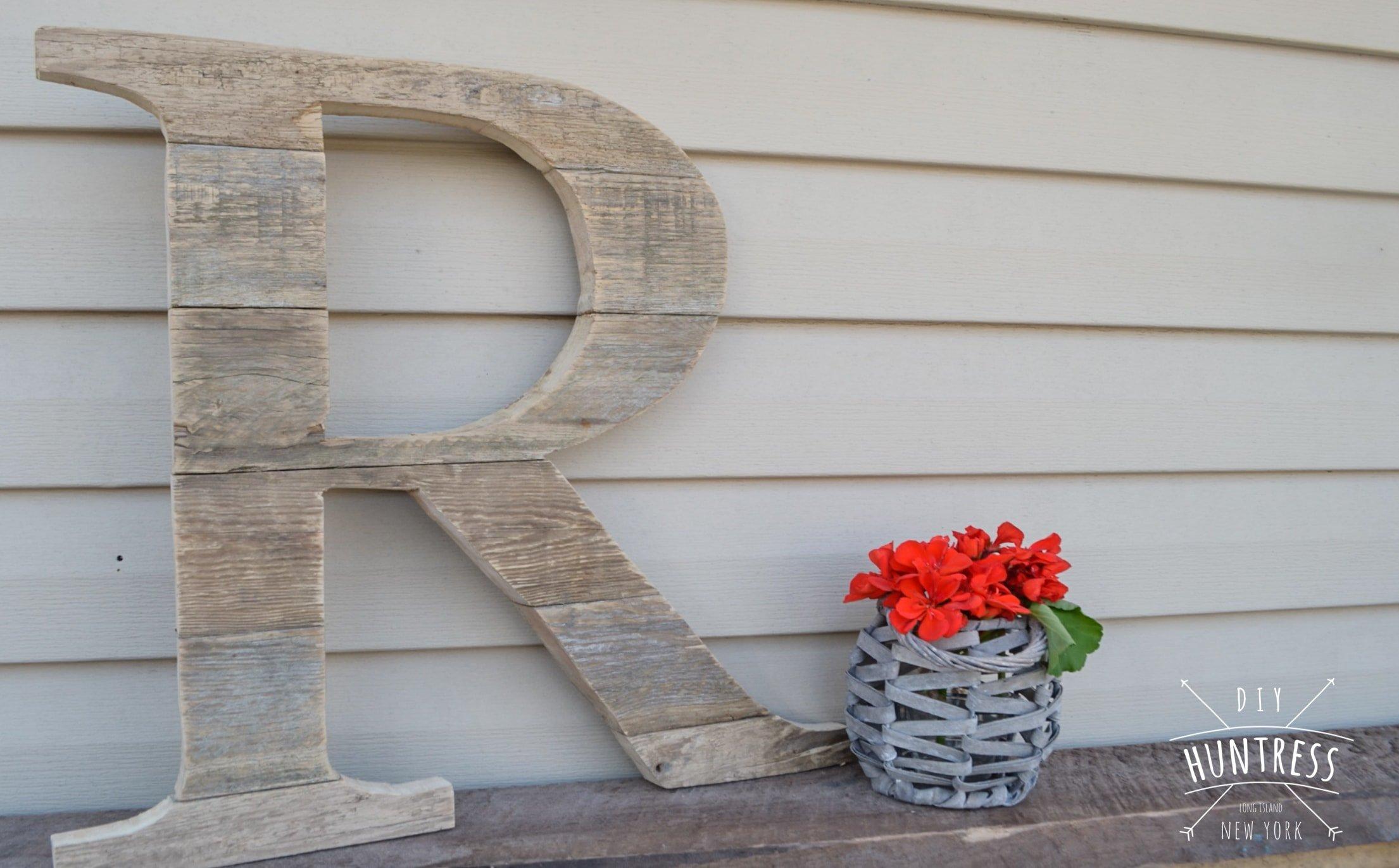 custom rustic wood letter initial