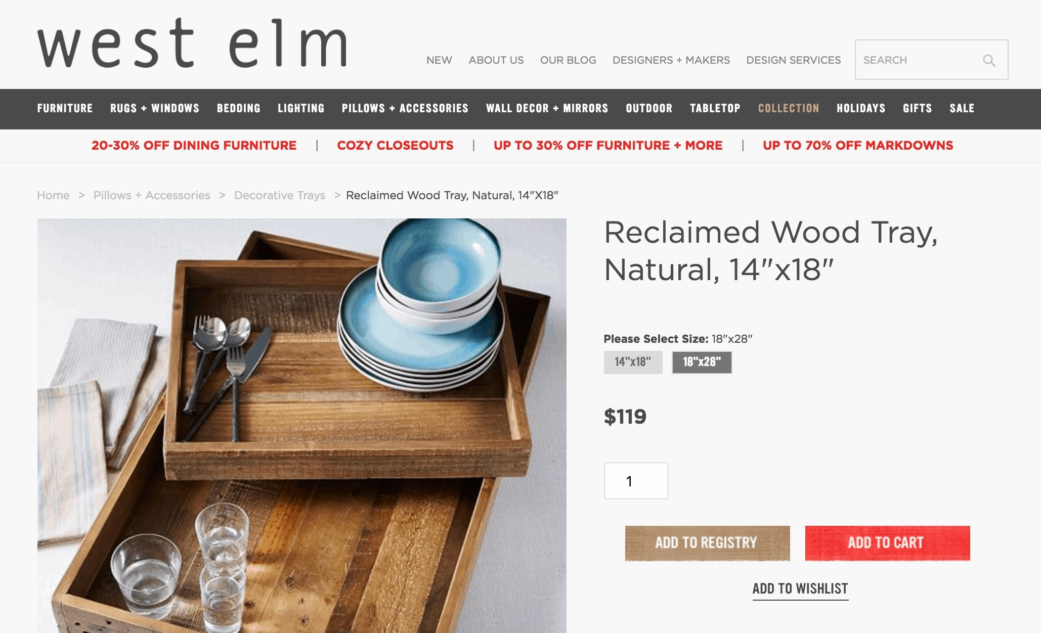 west elm wood tray