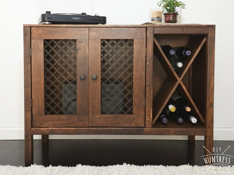 Diy Sideboard Record Cabinet With Wine Storage Free Plans Diy