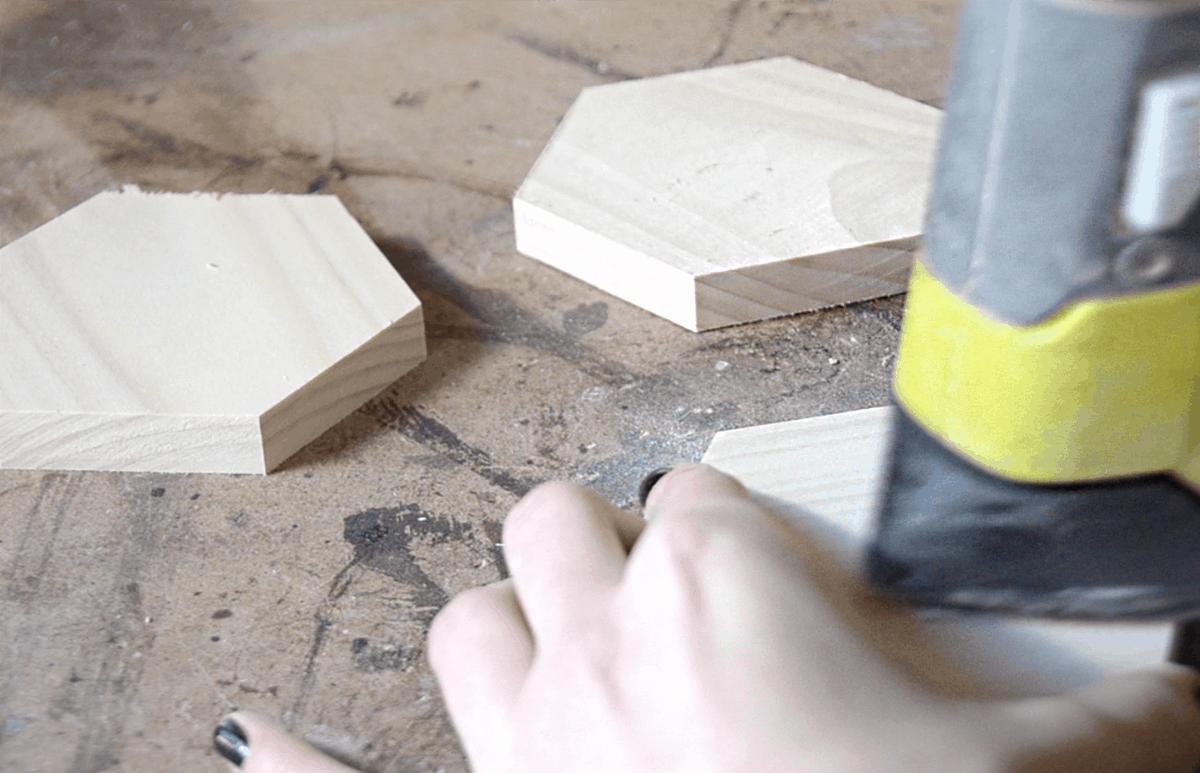 wood hexagon