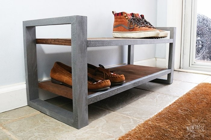 diy industrial shoe rack diy huntress. Black Bedroom Furniture Sets. Home Design Ideas