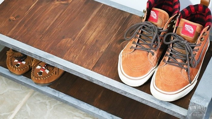 rustic shoe storage