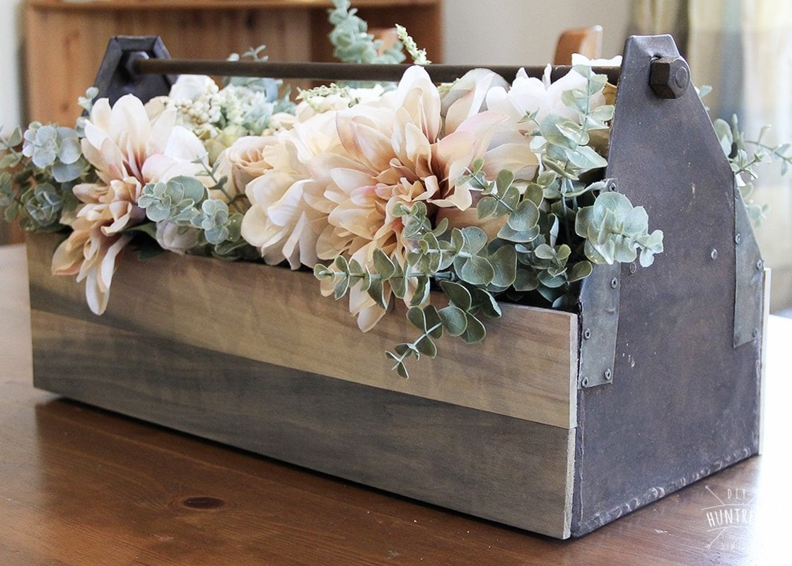 DIY Rustic Wood & Metal Centerpiece