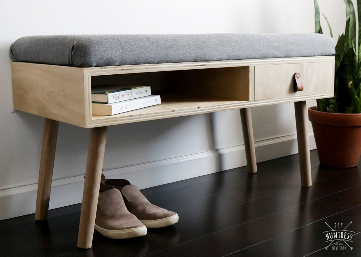 modern upholstered entryway bench