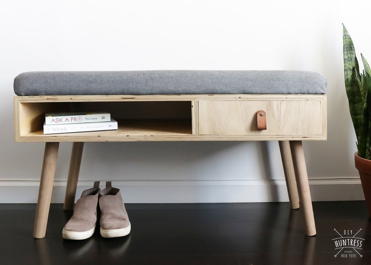 upholstered entry way bench with storage