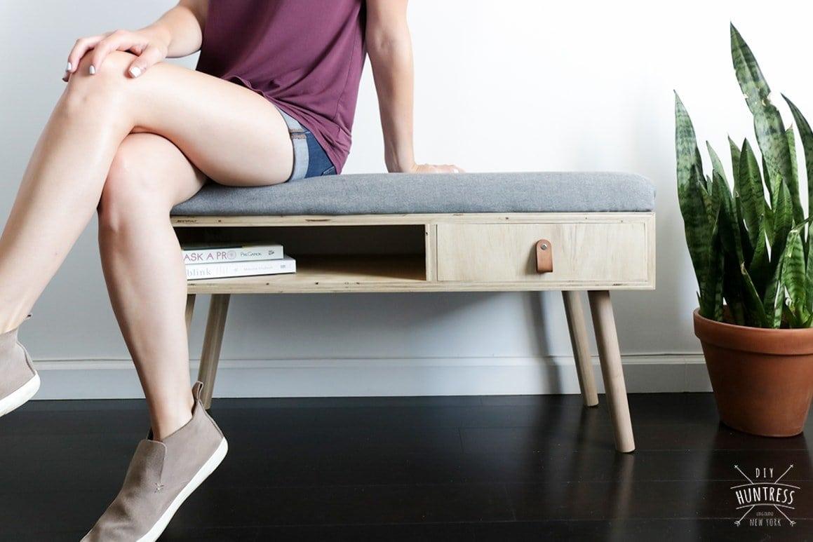 mid century modern bench