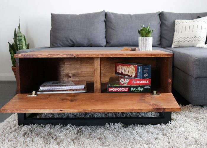 diy coffee table with hidden storage diy huntress. Black Bedroom Furniture Sets. Home Design Ideas