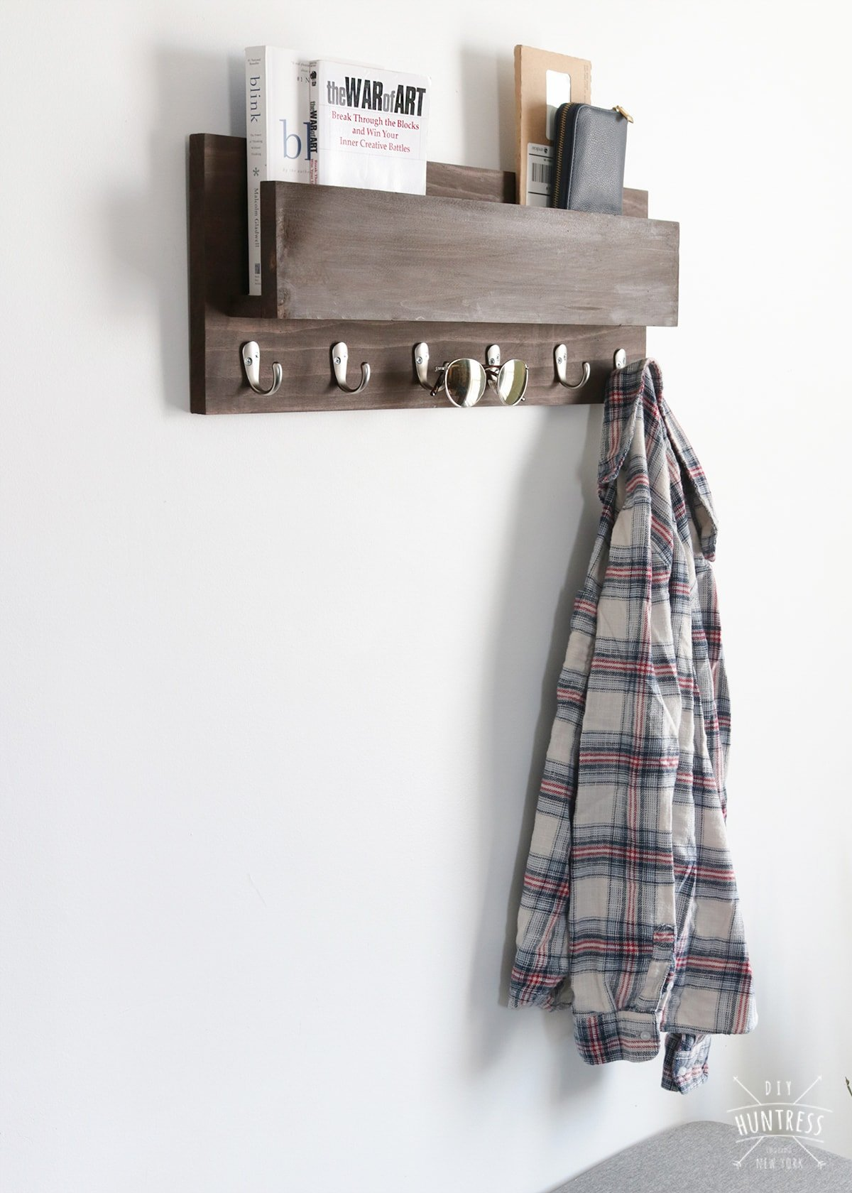 wood coat hanger with shelf