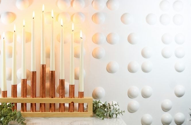 copper and wood menorah