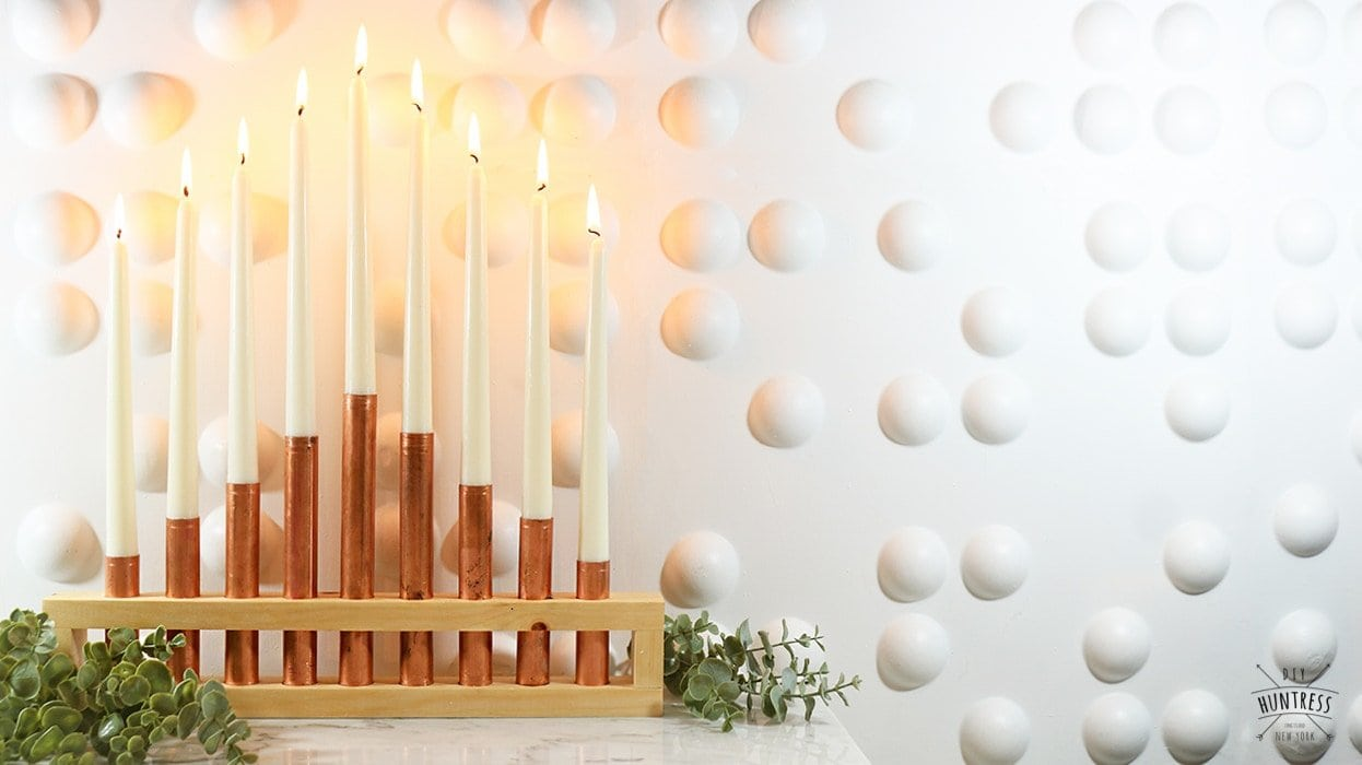 DIY metal and wood menorah