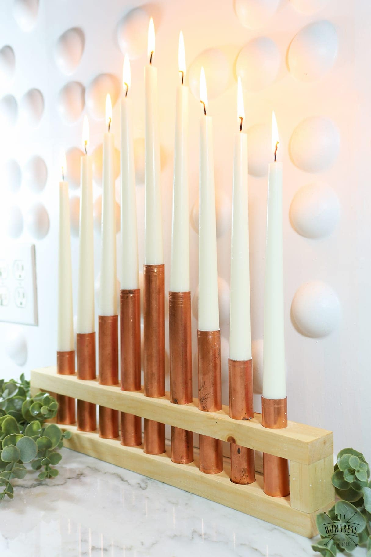 metal and wood candleholder