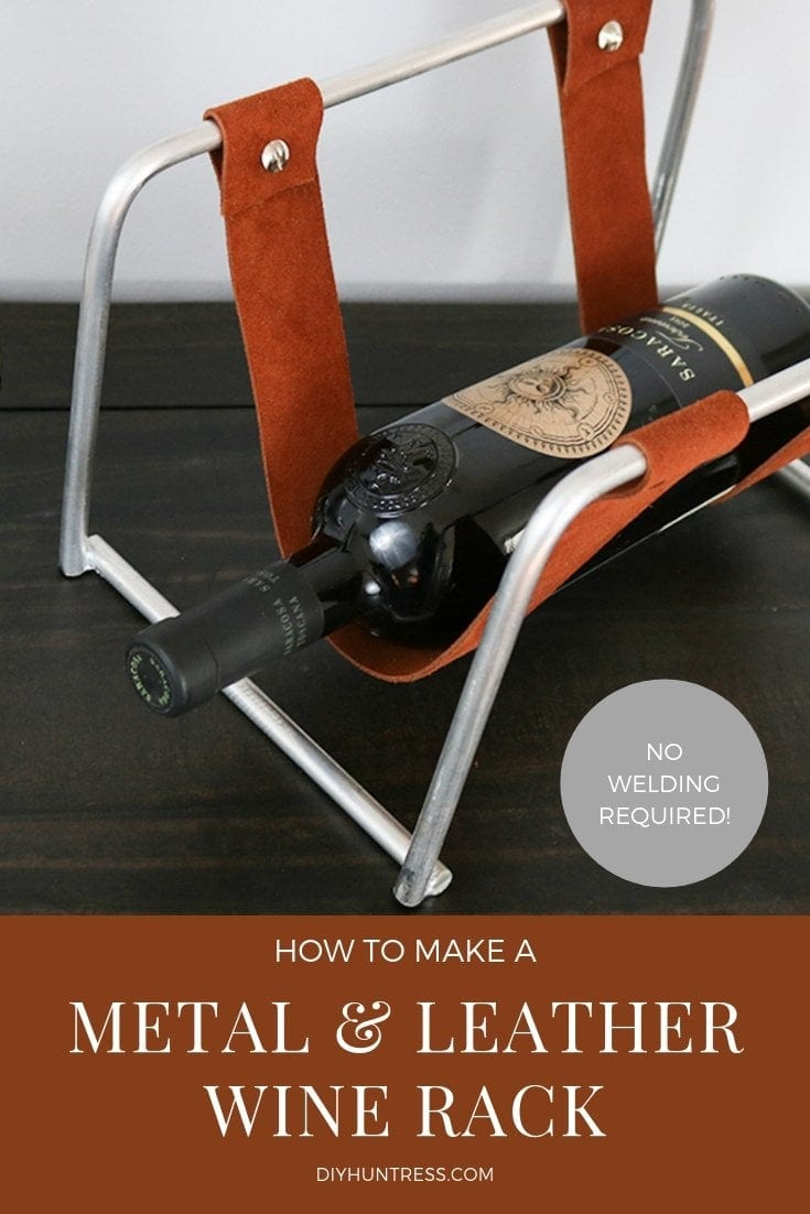 how to make a metal and leather wine rack