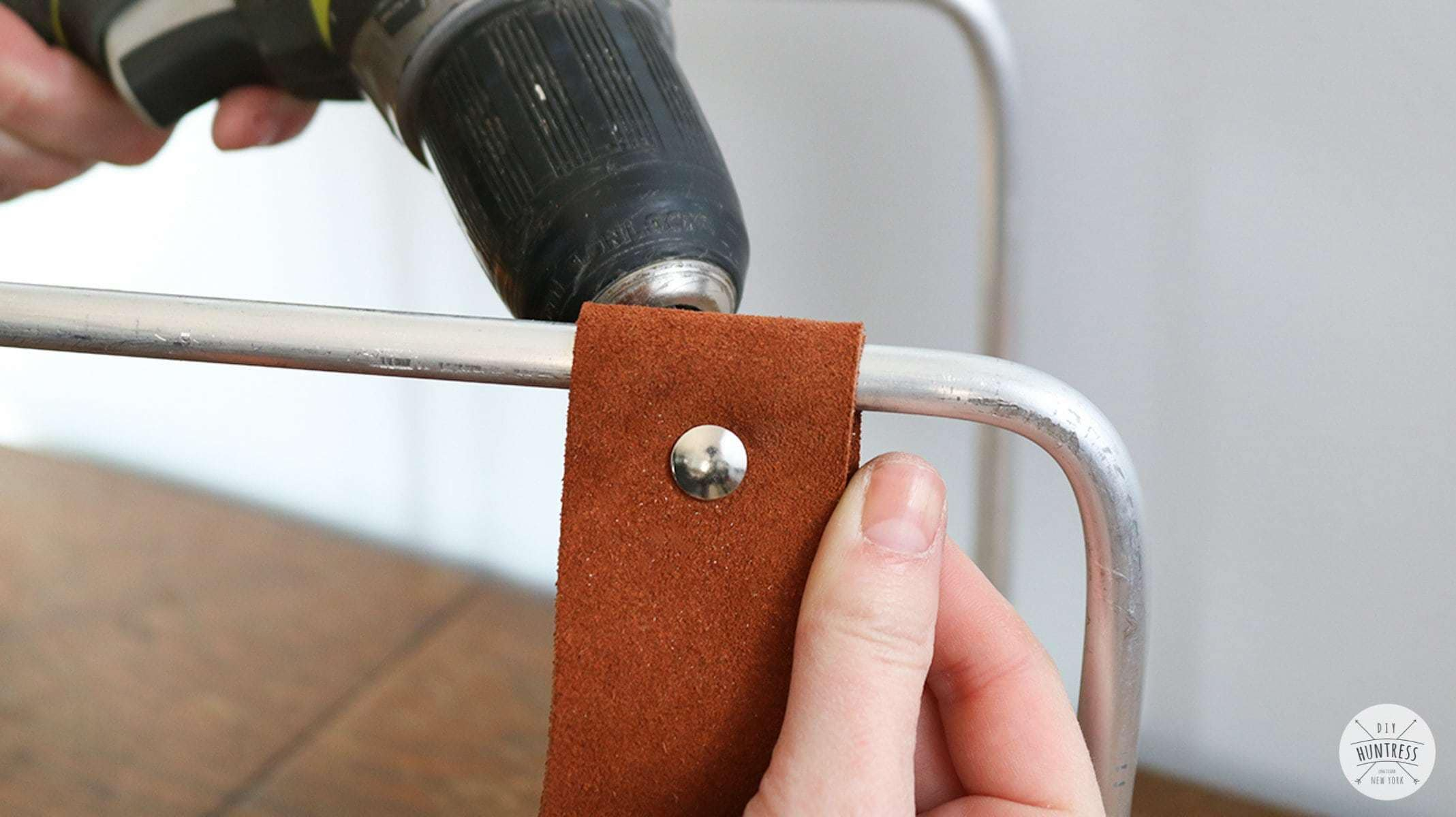 how to attach leather to metal