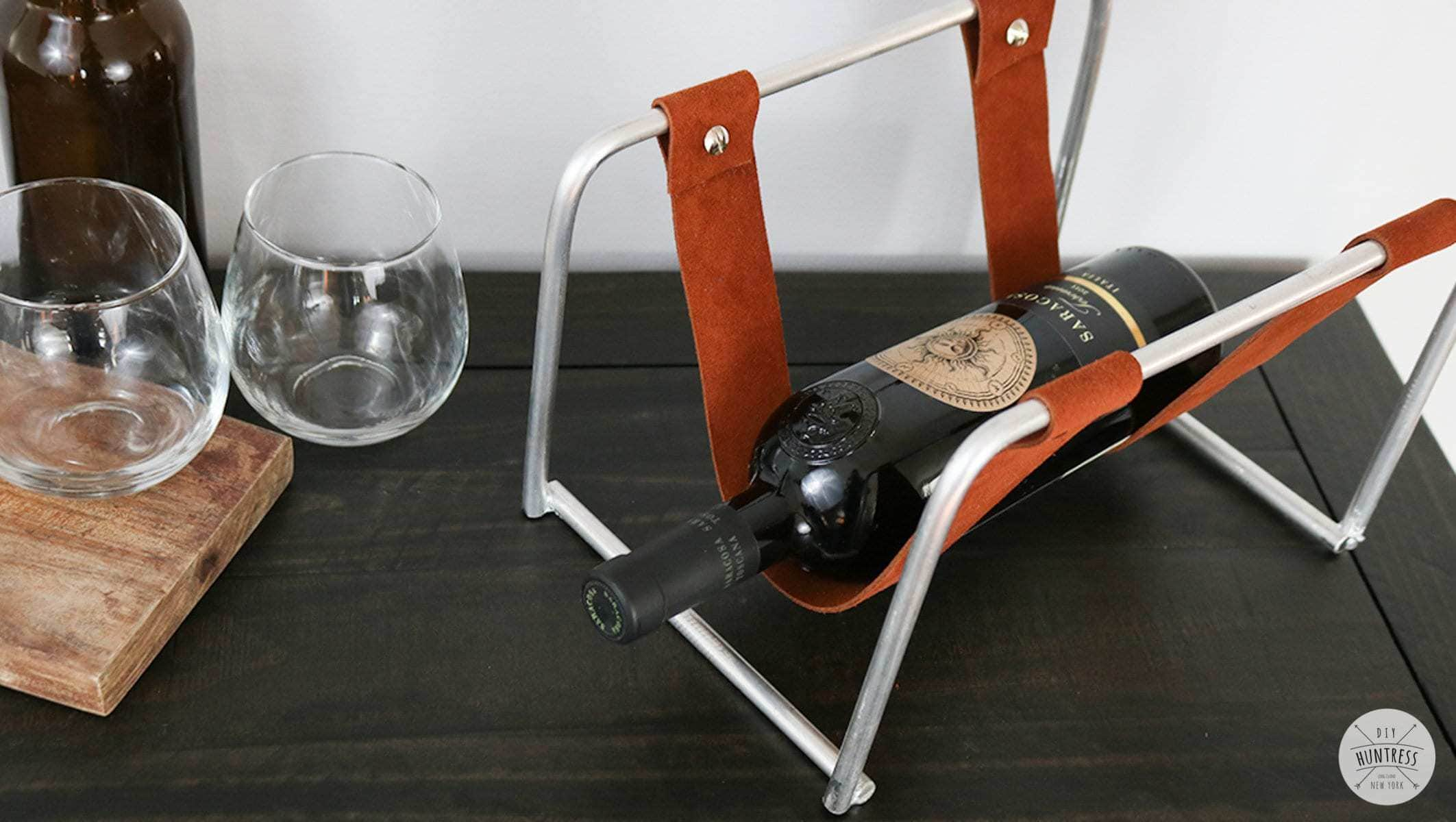 how to make a leather and metal wine rack