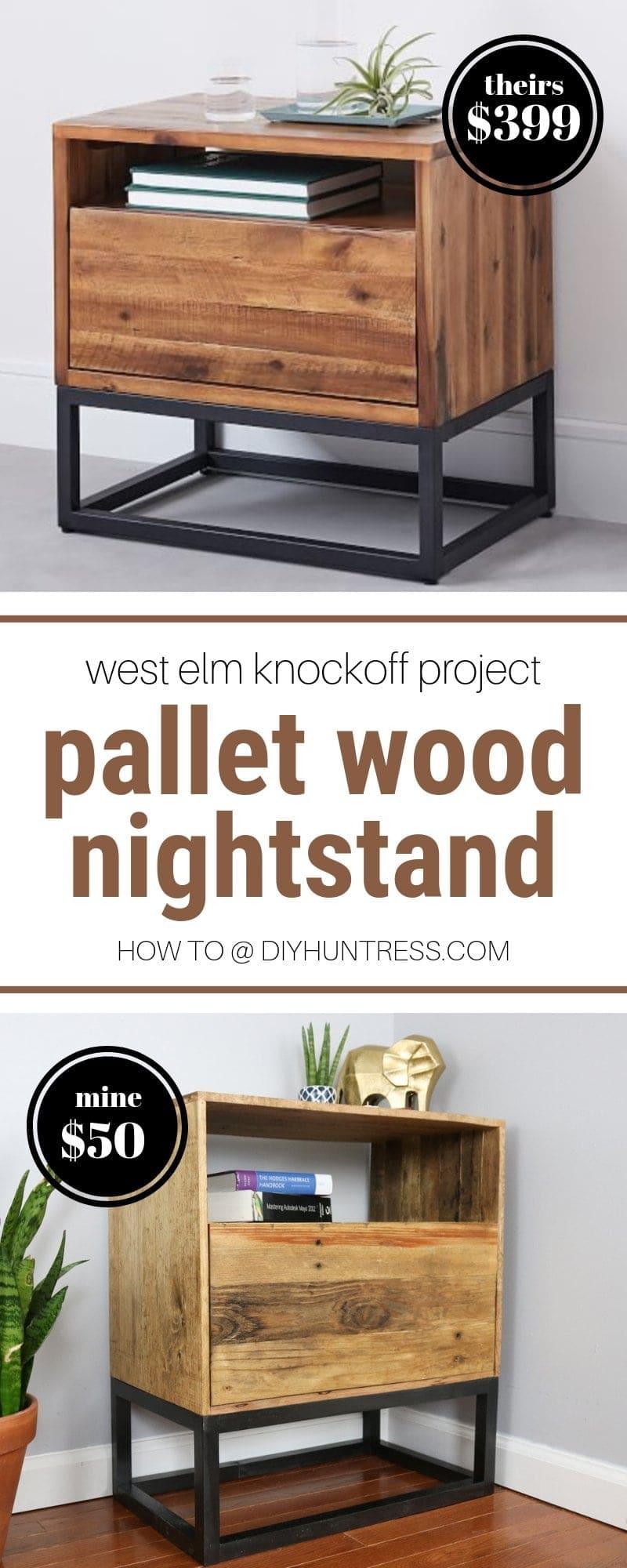 Diy Reclaimed Pallet Wood Nightstand West Elm Knockoff Diy Huntress