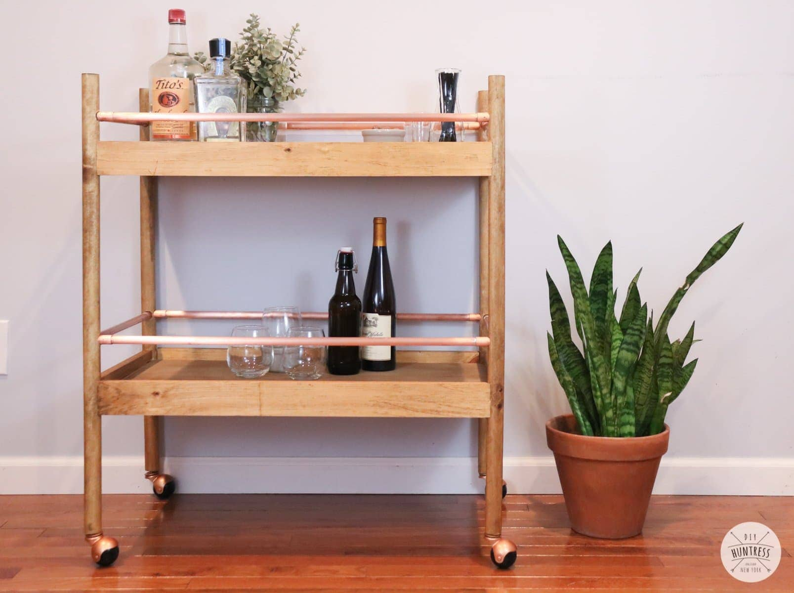DIY Copper & Wood Bar Cart
