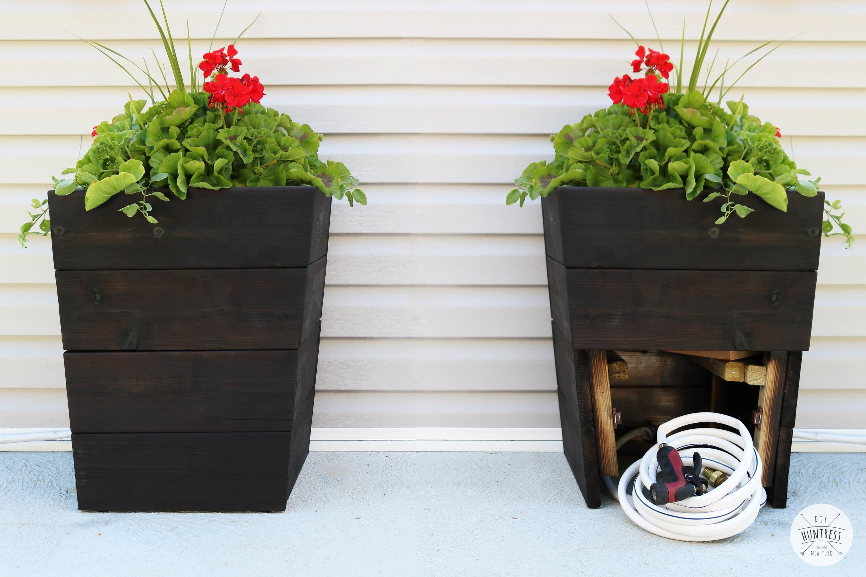 cedar planter with hose storage