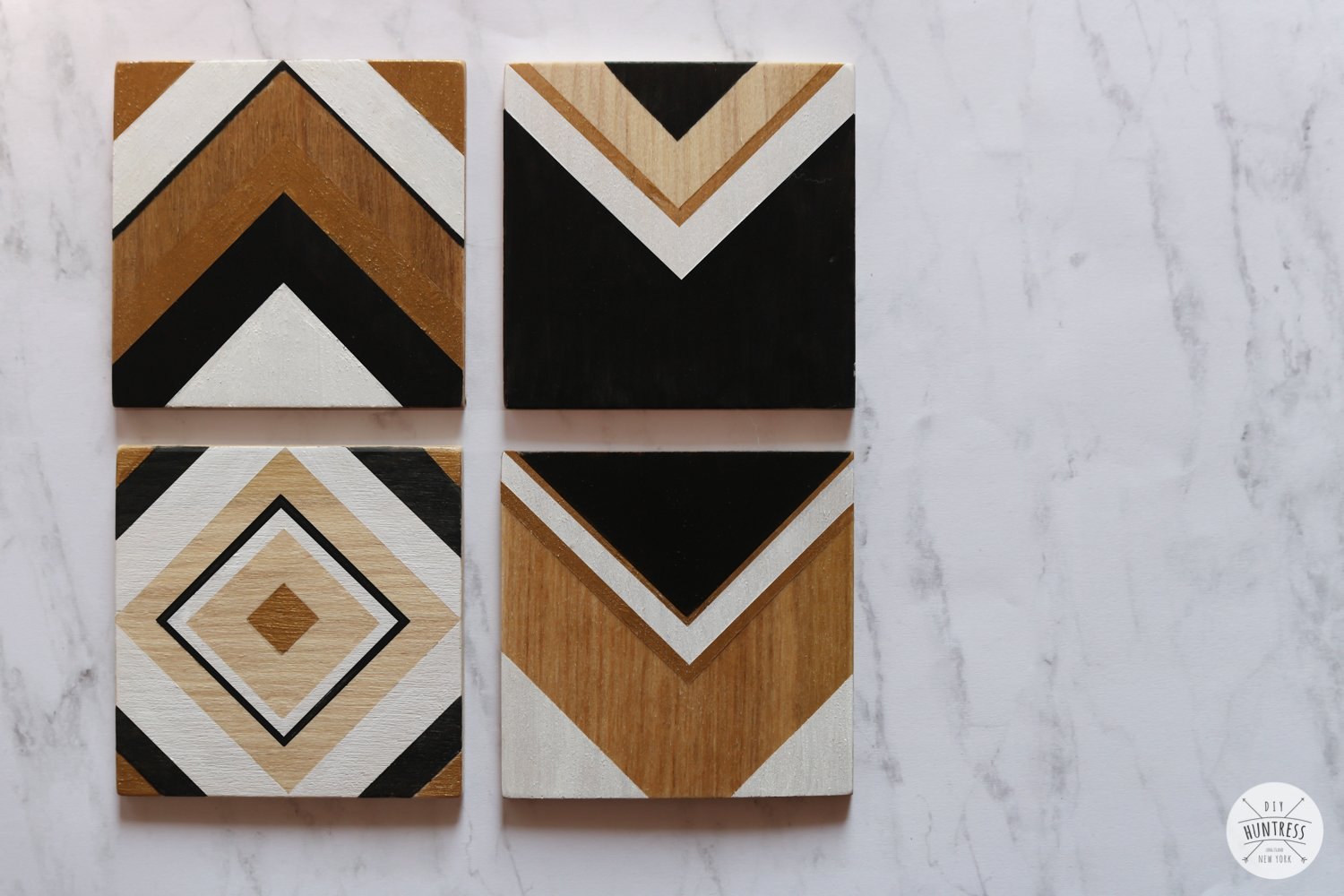 Diy Geometric Wood Coasters Diy Huntress