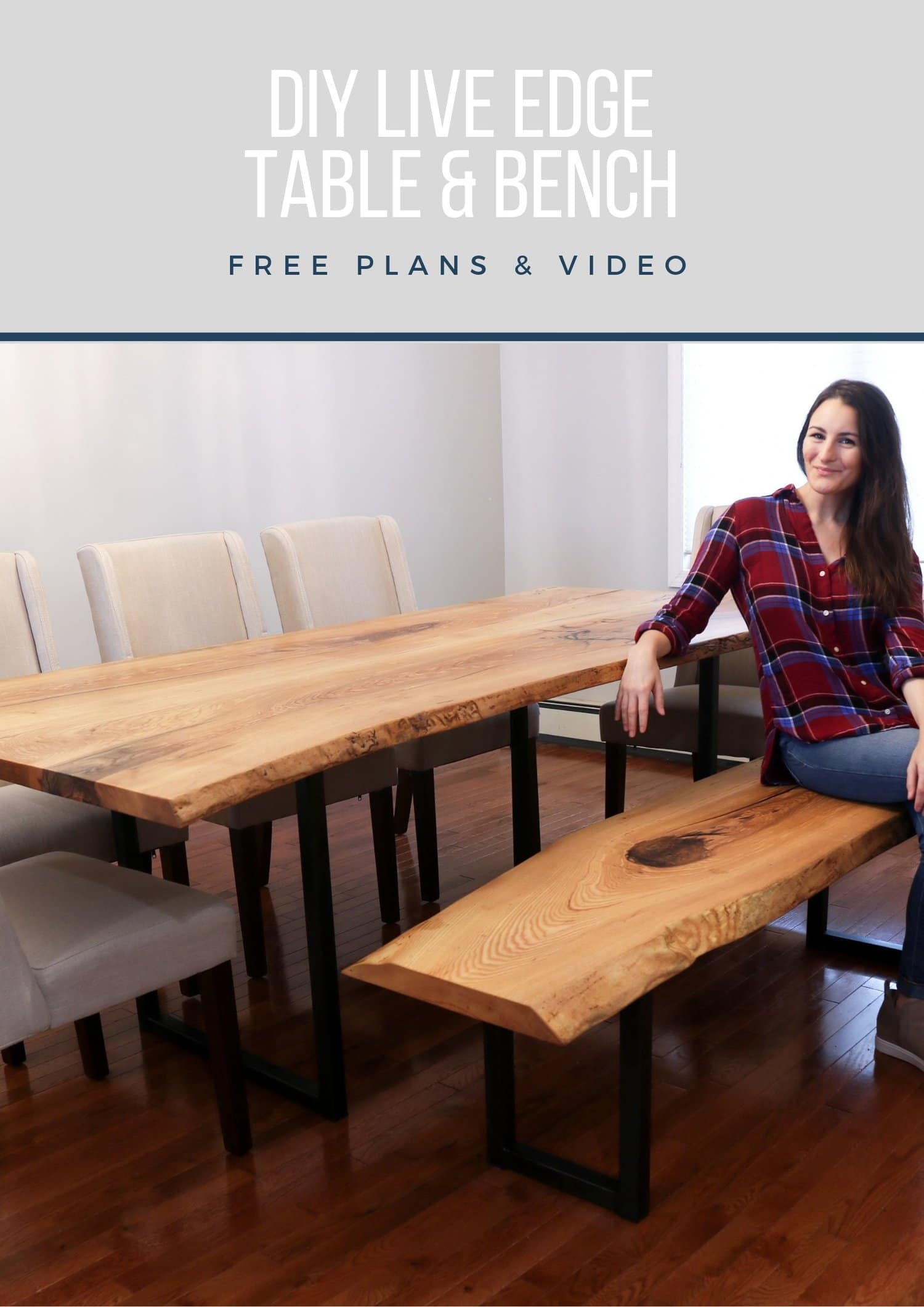 Fabulous Diy Live Edge Bench With Metal Legs Diy Huntress Spiritservingveterans Wood Chair Design Ideas Spiritservingveteransorg