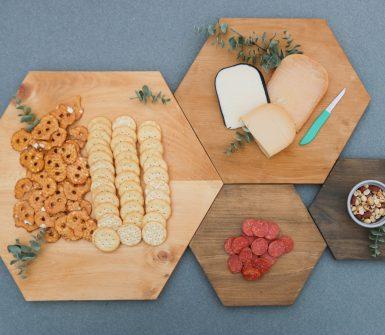 modern wood serving tray set