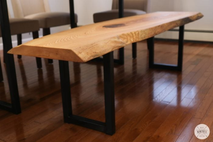 live edge bench with metal legs