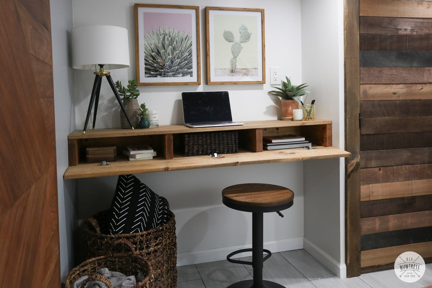 diy floating desk shelf with storage