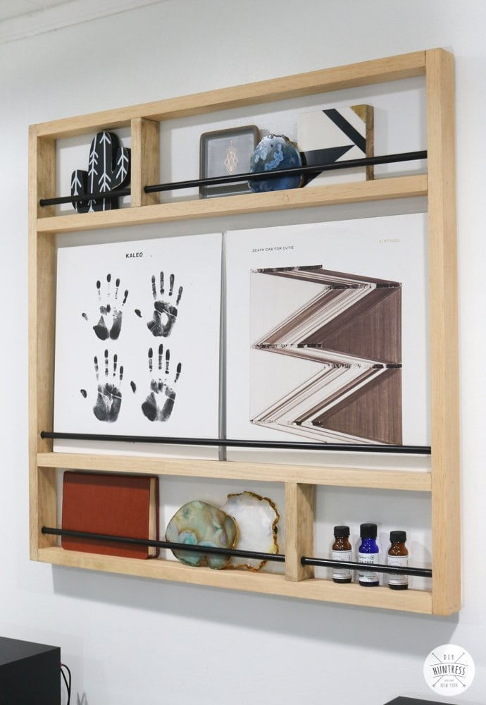 metal and wood picture shelf