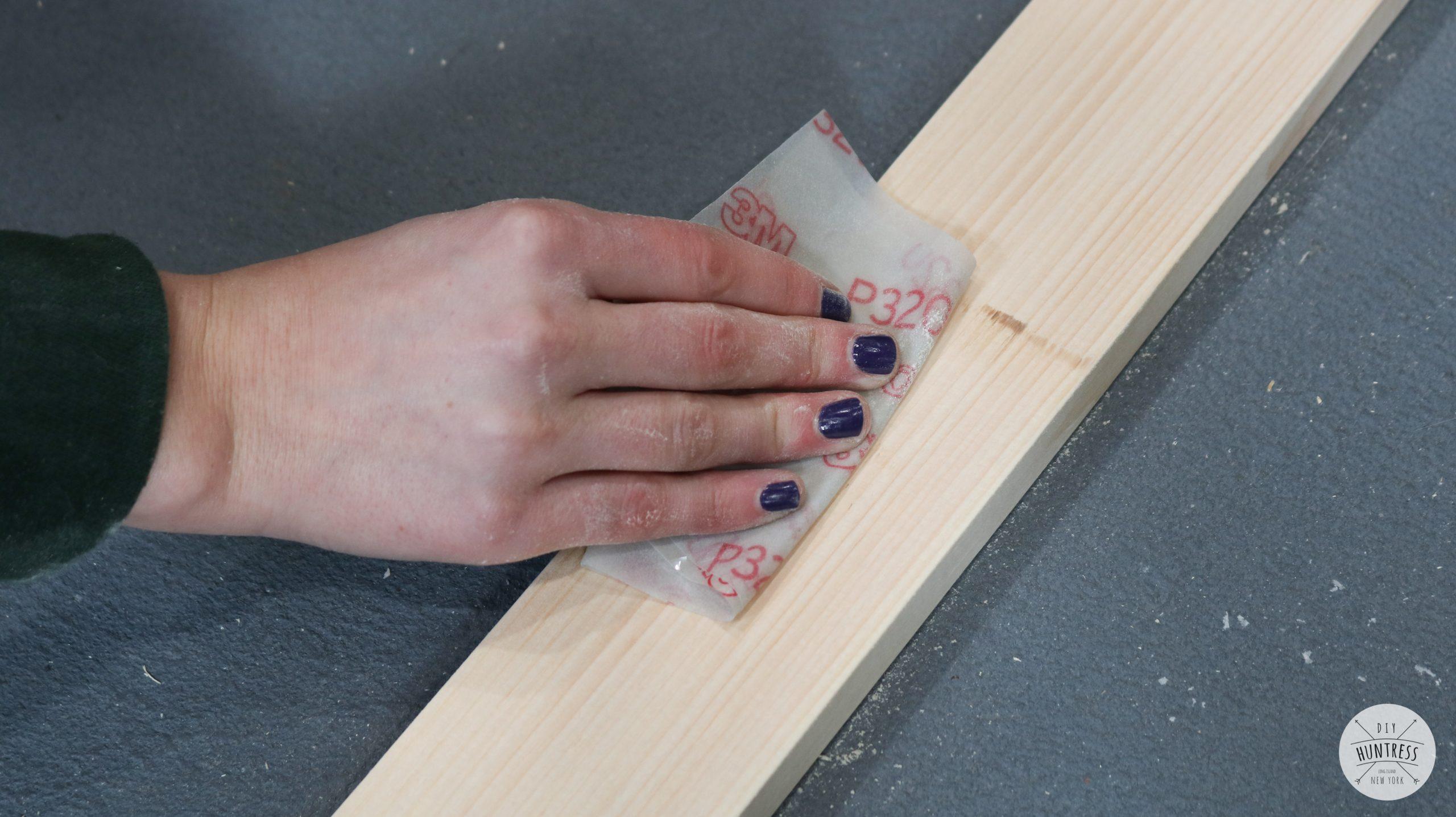 hand sanding pine