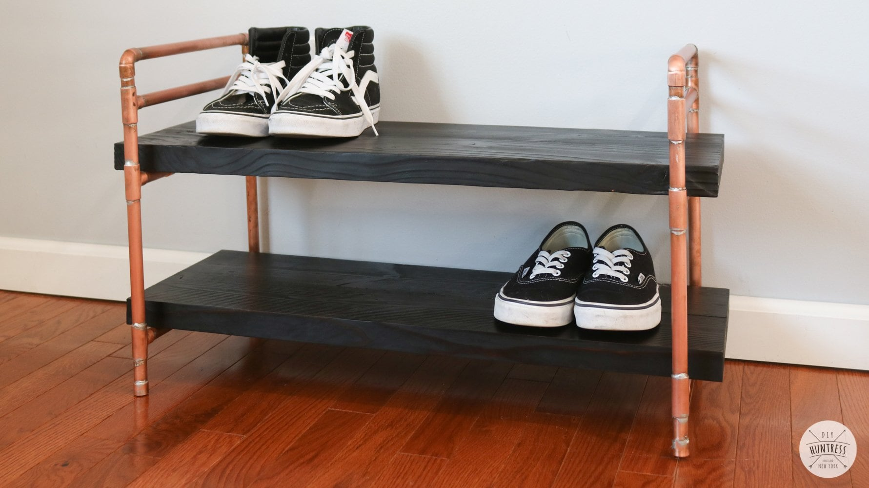 DIY Copper Pipe & Wood Shoe Shelf