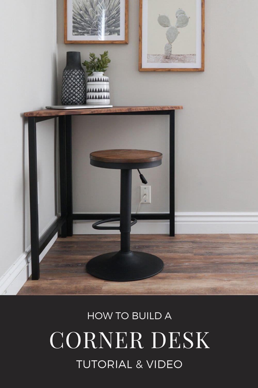 DIY Metal And Wood Corner Desk