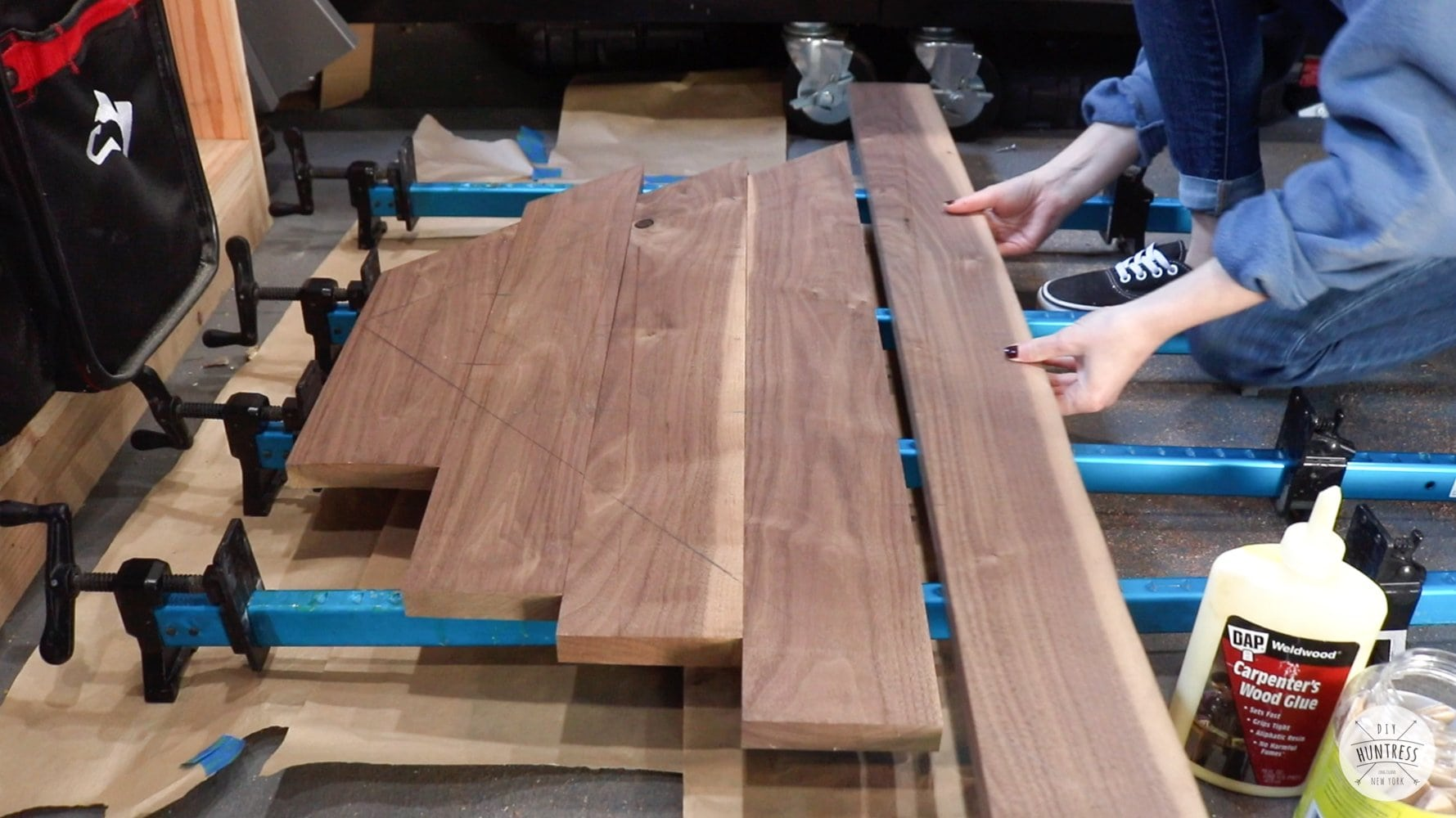 gluing up large wood desk top