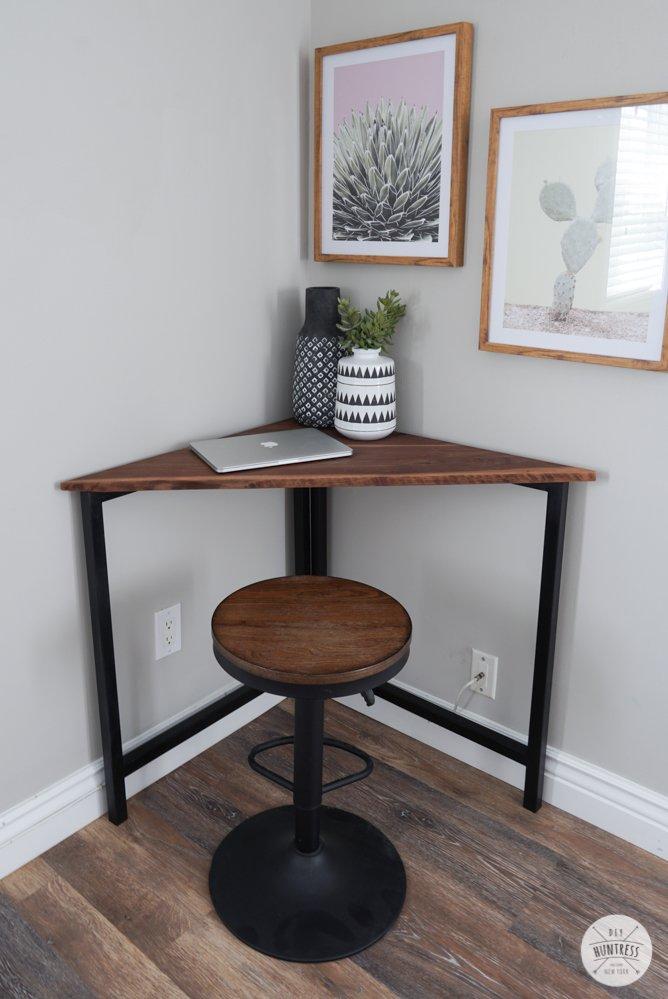 rustic industrial corner desk
