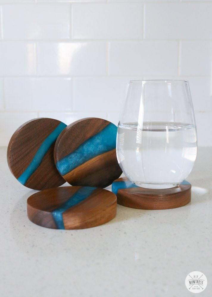 custom coasters resin and wood