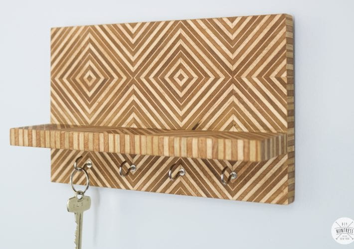 patterned plywood key holder