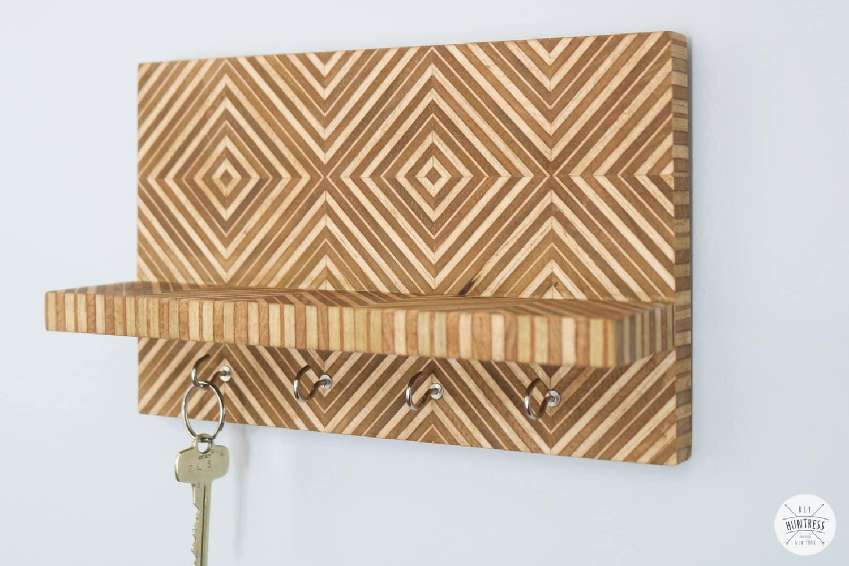 patterned plywood key holder