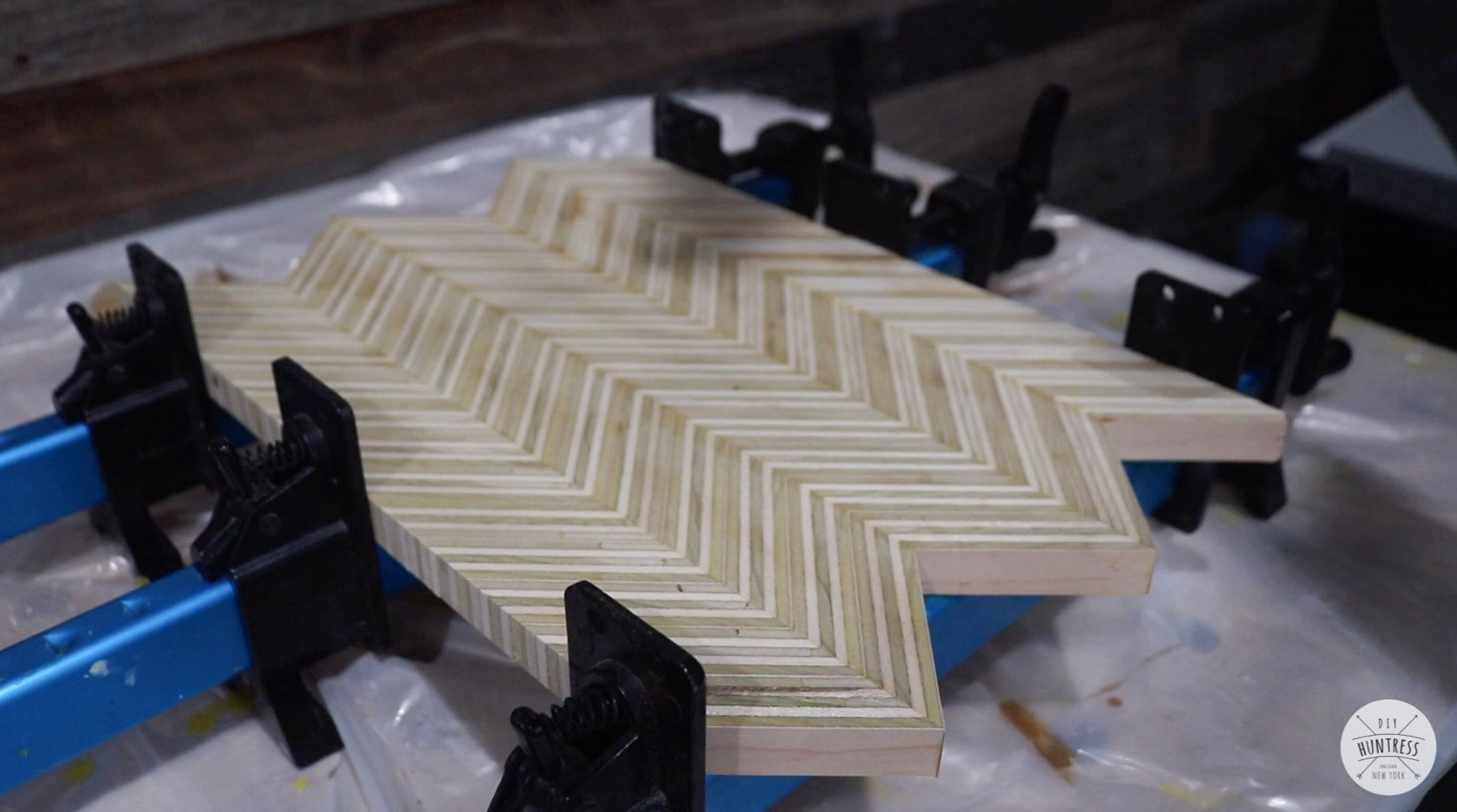 chevron patterned plywood
